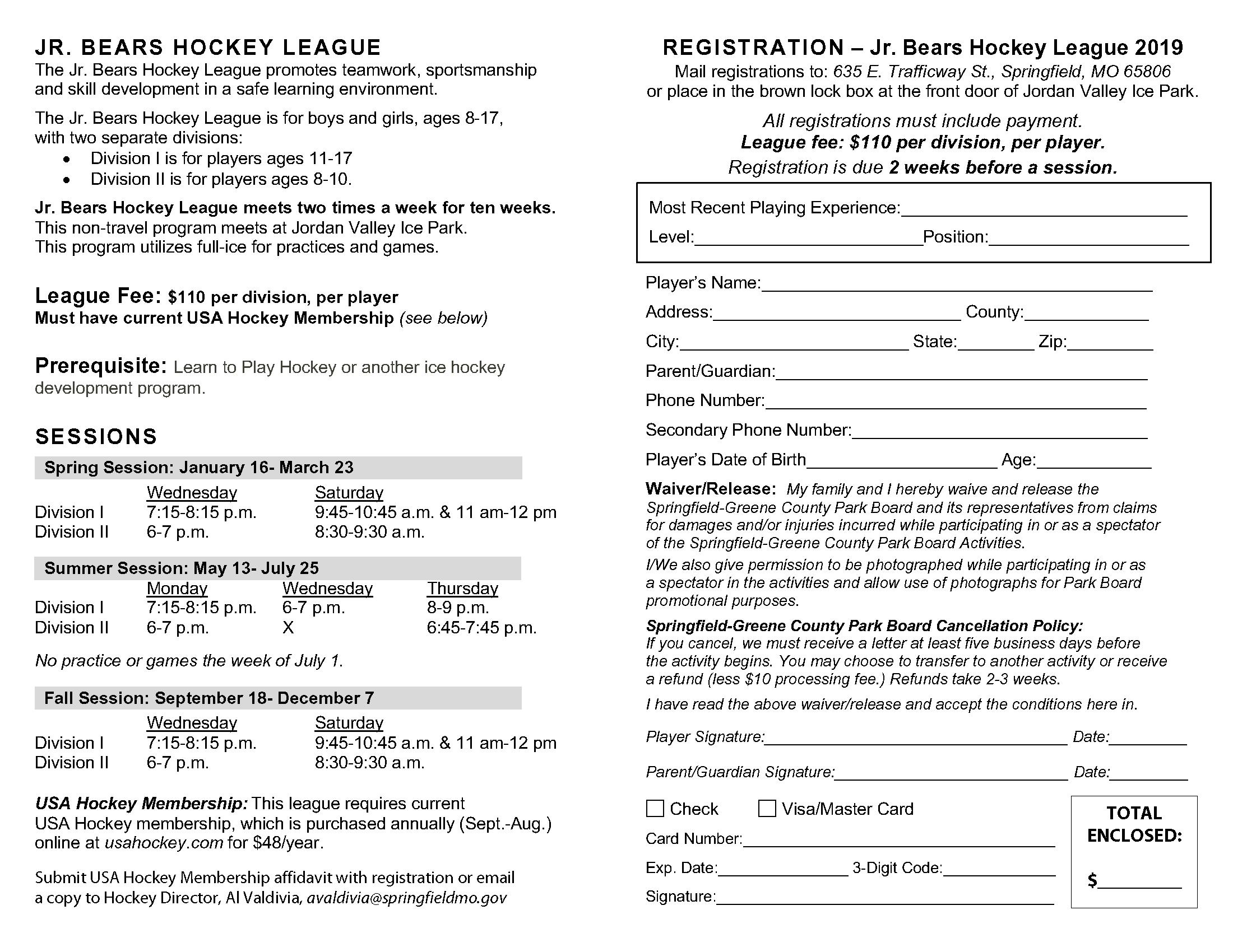 Hockey Springfield Greene County Park Board