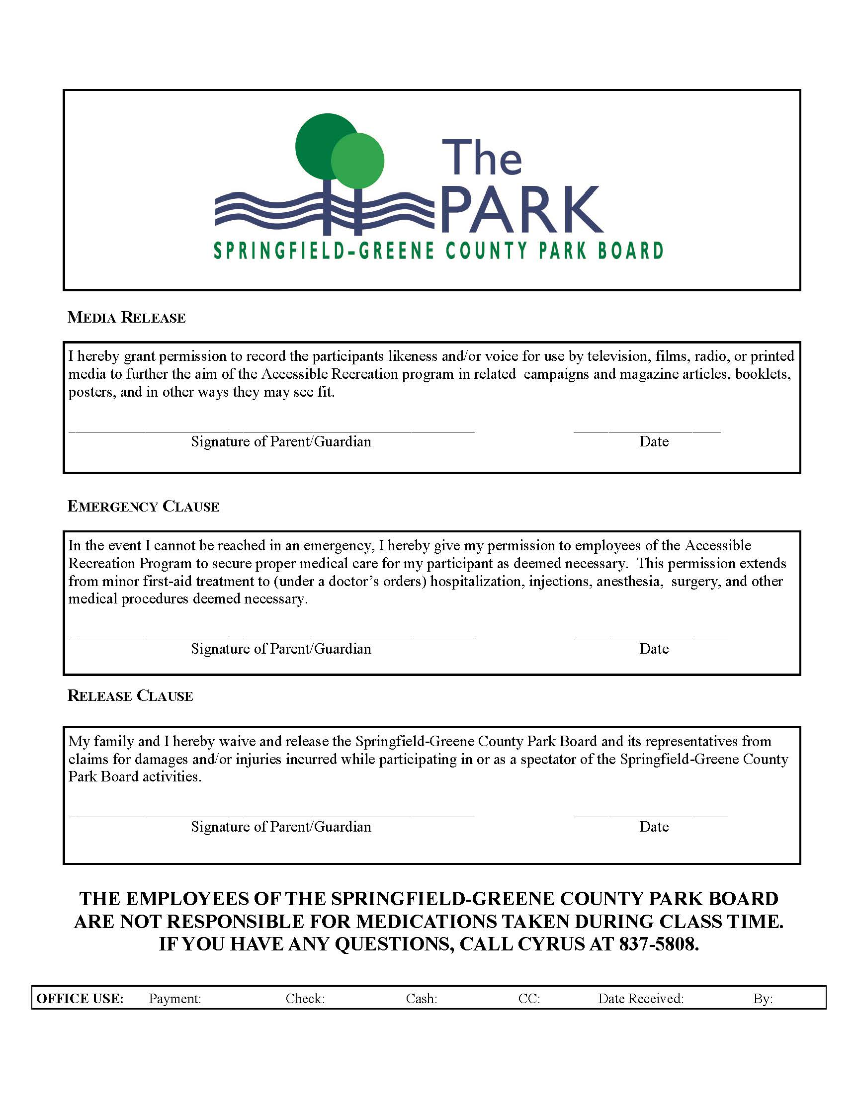 Registration Form for 5 and Up Page 2