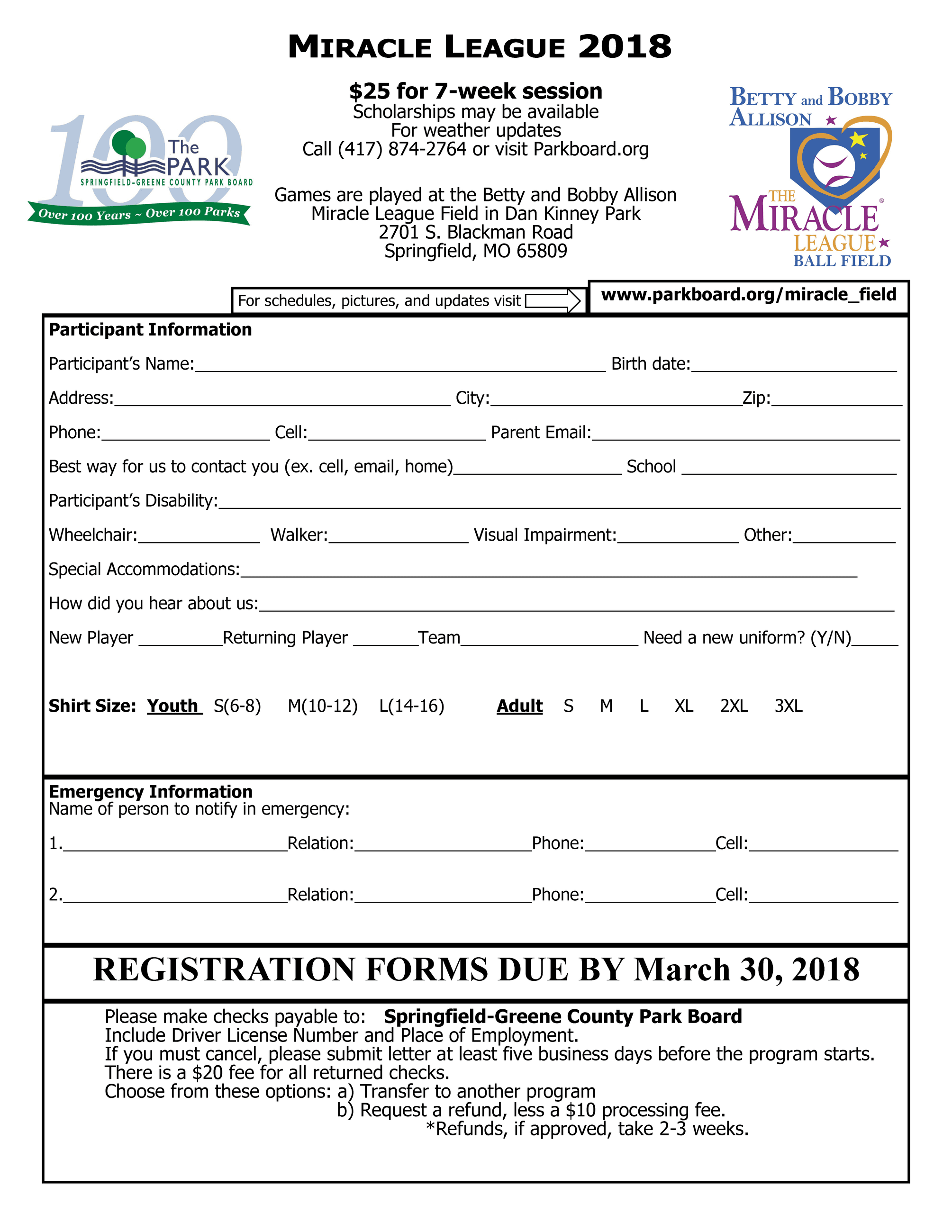 Miracle League Registration Spring 2018
