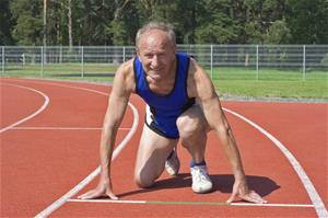 Elderly Man Preparing to Run a Race